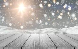 tavola di legno 3D che guarda fuori ad una scena nevosa illustrazione vettoriale