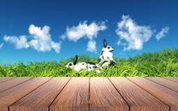 tavola di legno 3D che guarda fuori ai conigli in erba Immagine Stock