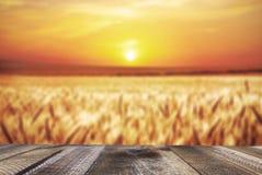 Tavola di legno del bordo davanti al campo di grano sulla luce di tramonto fotografie stock libere da diritti