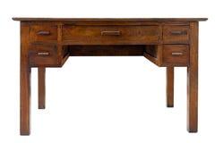 Tavola di legno del vecchio scrittorio marrone d'annata del lavoro fotografie stock libere da diritti