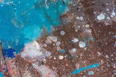 Tavola di legno dipinta variopinta, blu e Brown Fotografia Stock