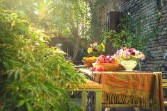 Tavola di legno in pieno piacevolmente decorata dei generi differenti di frutti dentro il bello giardino brillante con i lotti de immagine stock