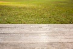 Tavola di legno vuota sul fondo del giardino fotografia stock