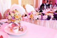 Tavola di lusso di nozze o di festa Fotografie Stock Libere da Diritti