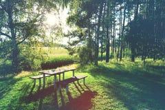 Tavola di picnic Fotografie Stock Libere da Diritti