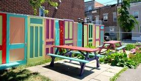 Tavola di picnic colorata, Montreal, Quebec Fotografia Stock Libera da Diritti