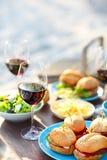 Tavola di picnic con i vetri del vino rosso Fotografie Stock Libere da Diritti
