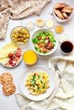 Tavola di prima colazione fresca Alimento sano Vista superiore Immagini Stock Libere da Diritti
