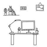 Tavola di stile di scarabocchio dell'illustrazione di vettore, posto di lavoro Immagine Stock Libera da Diritti