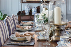 Tavola dinning di lusso messa a casa Fotografia Stock Libera da Diritti