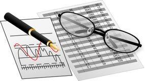 Tavola e grafico della penna degli occhiali Immagini Stock