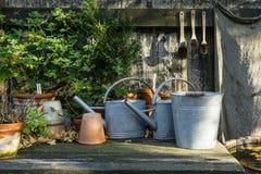 Tavola idilliaca romantica della pianta nel giardino con i vecchi retro vasi, strumenti e piante del vaso di fiore Fotografie Stock