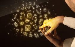Tavola interattiva commovente delle mani Immagini Stock