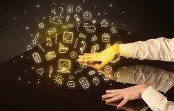 Tavola interattiva commovente delle mani Immagine Stock Libera da Diritti