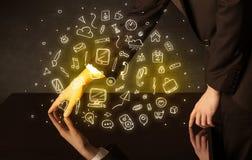 Tavola interattiva commovente delle mani Fotografia Stock