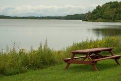 Tavola pinica sul lakeshore fotografie stock libere da diritti
