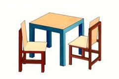 Tavola semplice della mobilia dei bambini & due sedie Fotografia Stock