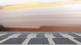 Tavola superiore di fantascienza del primo piano con l'illustrazione futuristica del fondo 3d della sfuocatura dell'astronave royalty illustrazione gratis