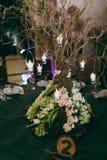 Tavole di numerazione alle nozze Fotografie Stock