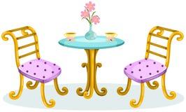 Tavolino da salotto all'aperto sveglio con le sedie illustrazione di stock