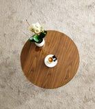 Tavolino da salotto con la tazza del caff? e della pianta del cappuccino , su fondo bianco fotografia stock