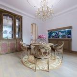 Tavolo da pranzo di legno lussuoso e quattro sedie nella sala da pranzo con la credenza e l'acquario Legno intagliato illustrazione di stock