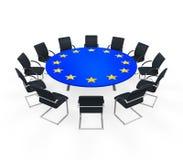 Tavolo di riunione rotondo dell'Unione Europea Fotografie Stock Libere da Diritti