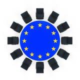 Tavolo di riunione rotondo dell'Unione Europea Immagine Stock