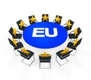 Tavolo di riunione rotondo dell'Unione Europea Immagini Stock Libere da Diritti