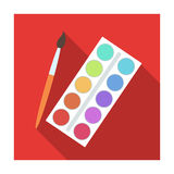 Tavolozza con le pitture e la spazzola Pittura a scuola La singola icona di istruzione e della scuola nello stile piano vector le Immagini Stock