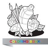 Tavolozza con pittura, le spazzole e la pittura di spruzzo in rose - libro da colorare Fotografia Stock Libera da Diritti