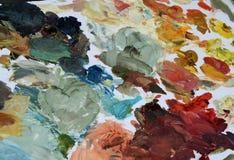 Tavolozza dei pittori con colore di acqua Fotografia Stock