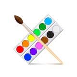 Tavolozza della pittura dell'acquerello sul vettore bianco Fotografia Stock
