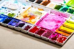 Tavolozza della pittura di colore Fotografia Stock Libera da Diritti