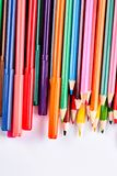 Tavolozza delle matite multicolori per disegnare Fotografia Stock Libera da Diritti
