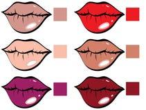 Tavolozza di colore del rossetto Immagini Stock