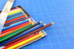 tavolozza di colore sopra un modello Fotografia Stock