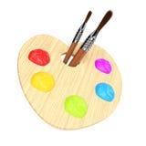 Tavolozza di legno di arte con i pennelli Fotografia Stock Libera da Diritti