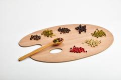 Tavolozza di varie spezie sulla tavolozza di legno isolata su bianco Fotografie Stock
