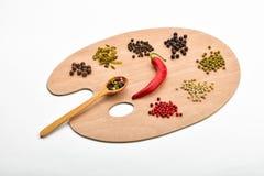 Tavolozza di varie spezie sulla tavolozza di legno su bianco Immagine Stock Libera da Diritti