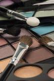 Tavolozze dell'ombretto con una selezione delle spazzole Fotografia Stock Libera da Diritti