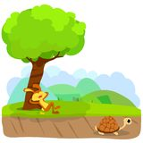 Tortoise and The Hare or Turtle and The Rabbit Fable Vectoral Illustration. Rabbit is Sleeping Under the Tree, Turtle is Running to Finish. White BAckground stock illustration