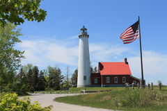 Tawas Point Lighthouse, Michigan. Along Lake Huron Stock Photography
