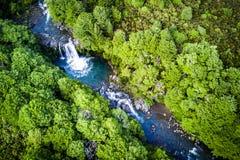 Tawhai秋天的Arial视图在汤加里罗国立公园,新西兰 免版税库存照片