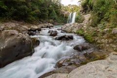 Tawhai cade cascata conosciuta come lo stagno di Gollums fotografia stock