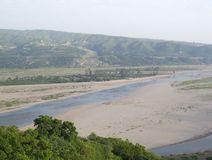 Tawi River, Jammu, India. Tawi River landscape view, Jammu, India royalty free stock image