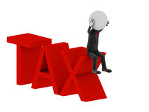 Tax. 3d illustration of human character Stock Photo