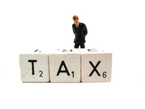 Tax. A man in trouble because of tax he has to pay royalty free stock photography
