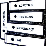 Tax and Accountancy Files. An illustration of a stack of different file related to tax, accountancy and finance Stock Image