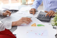 Tax accountants working with documents royalty free stock photos